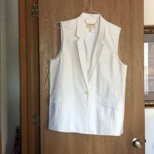 White Michael Kors Long Sleeveless Vest XL